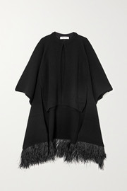 Valentino Feather-trimmed wool and cashmere-blend cape