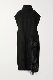 Valentino Feather-embellished ribbed wool and cashmere-blend turtleneck sweater