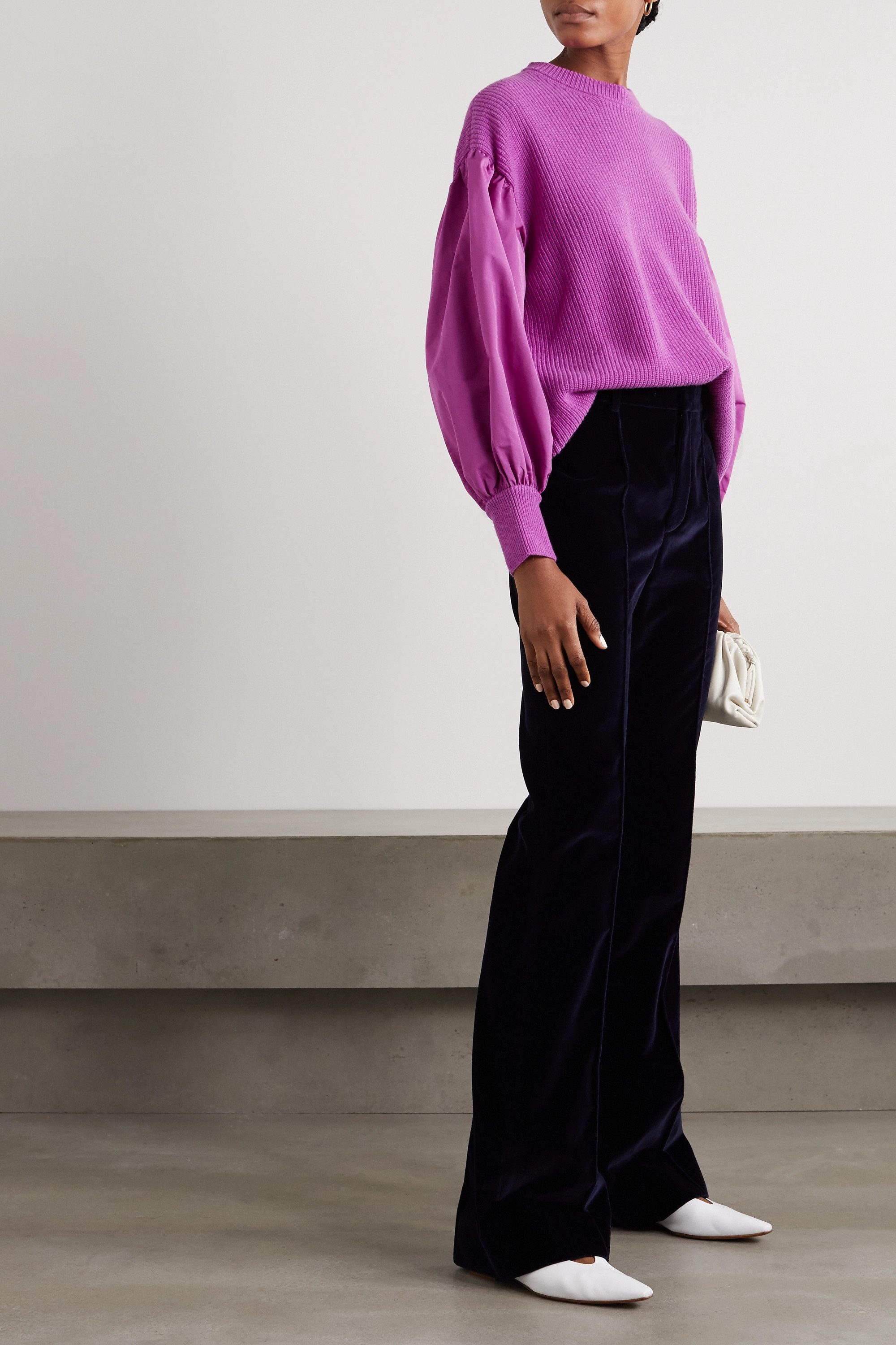 Valentino Paneled faille and ribbed wool and cashmere-blend sweater