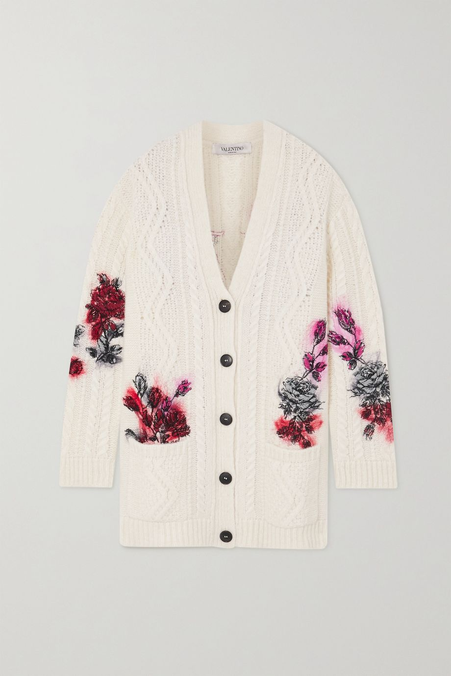 Valentino Embroidered cable-knit alpaca-blend cardigan