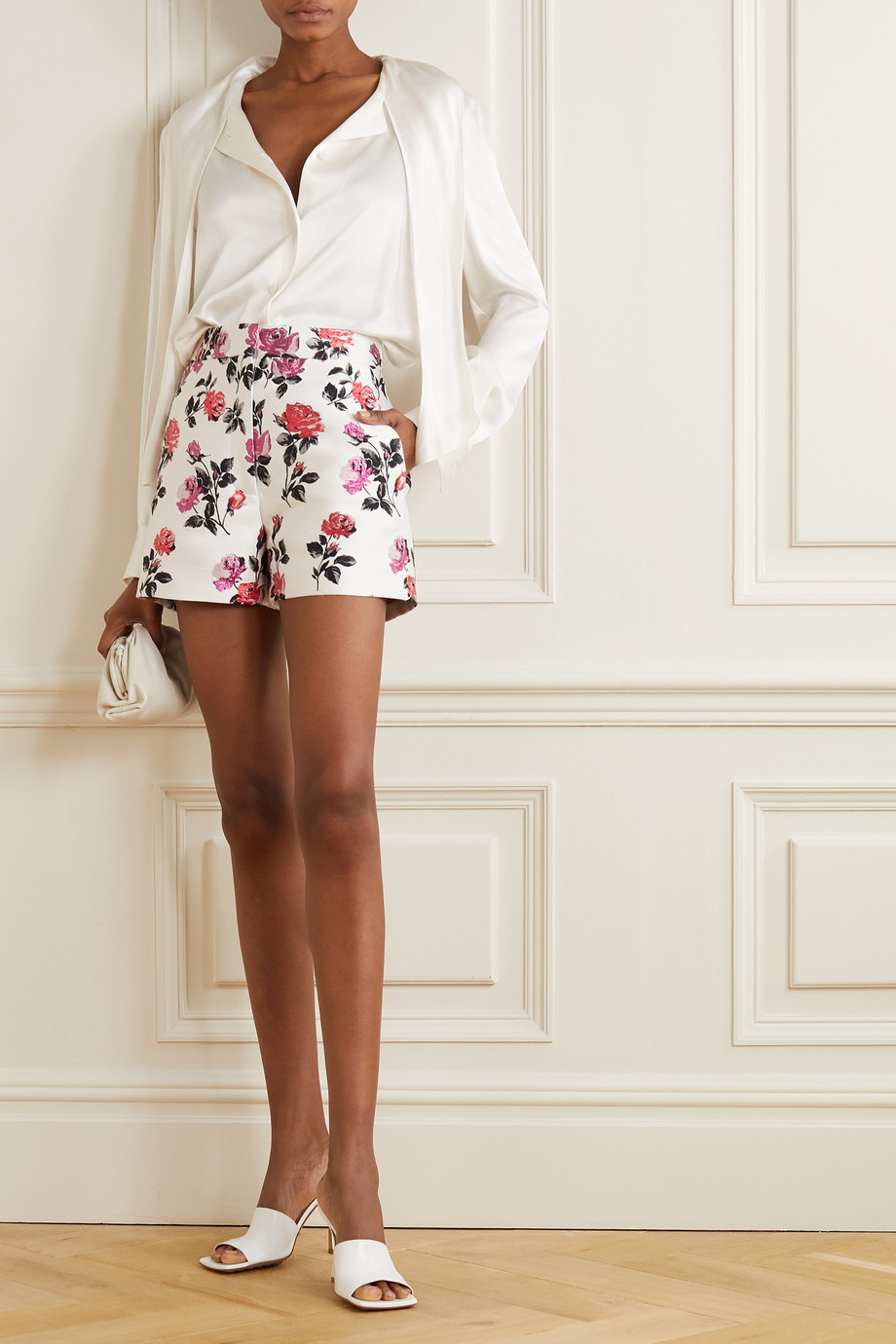 Valentino Metallic silk-blend brocade shorts