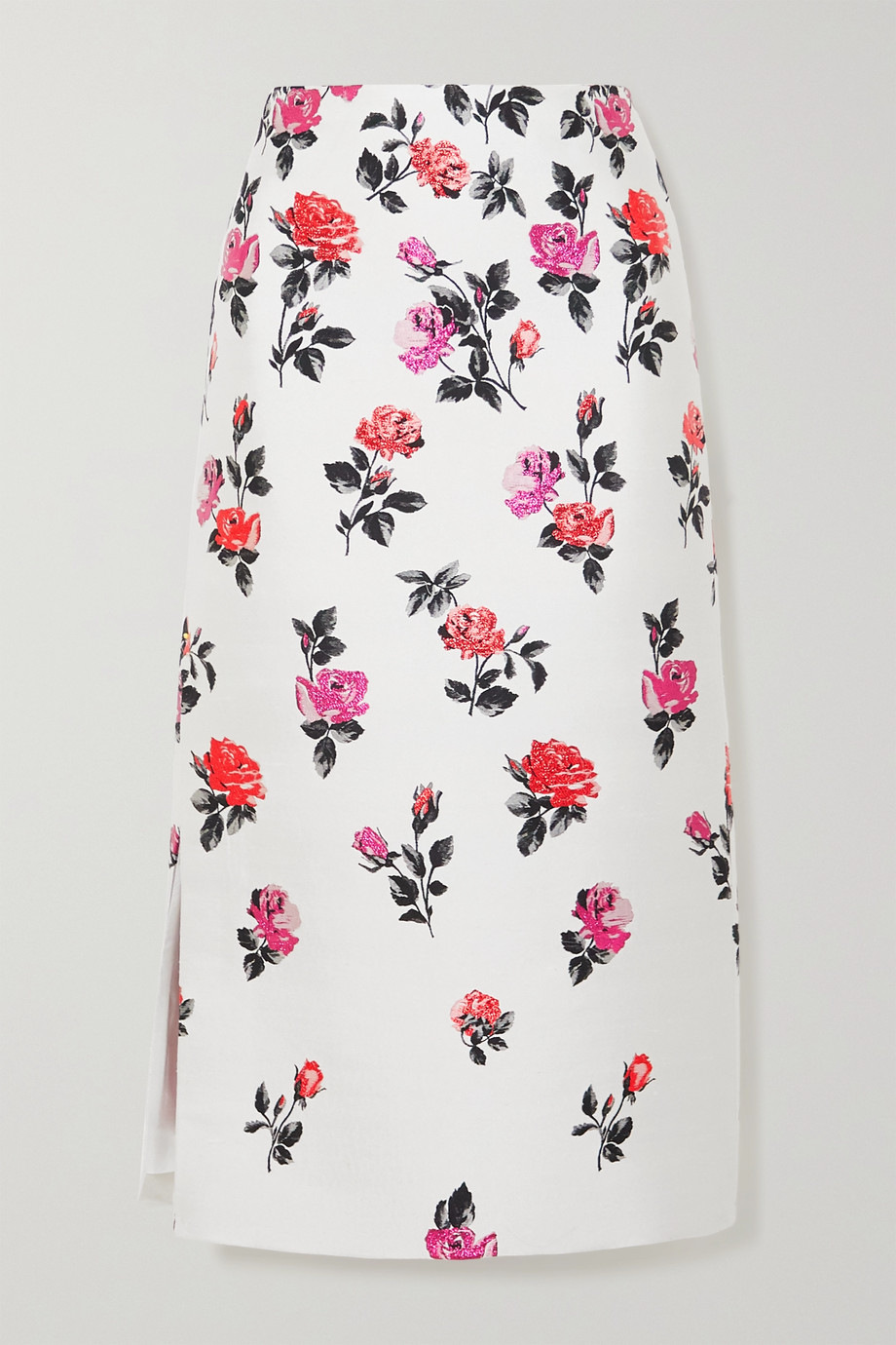 Valentino Metallic silk-blend brocade midi skirt