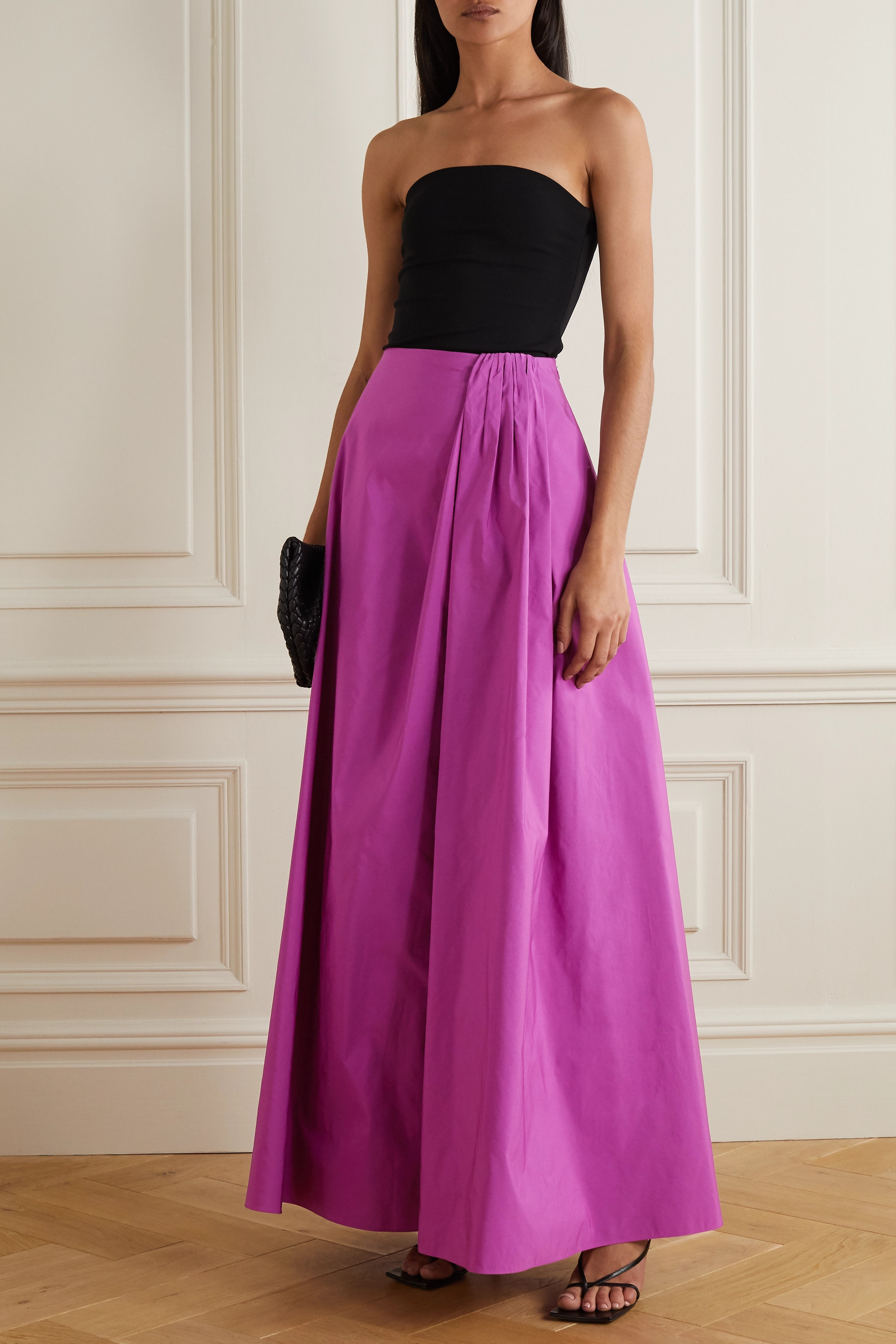 Valentino Gathered cotton-blend faille maxi skirt