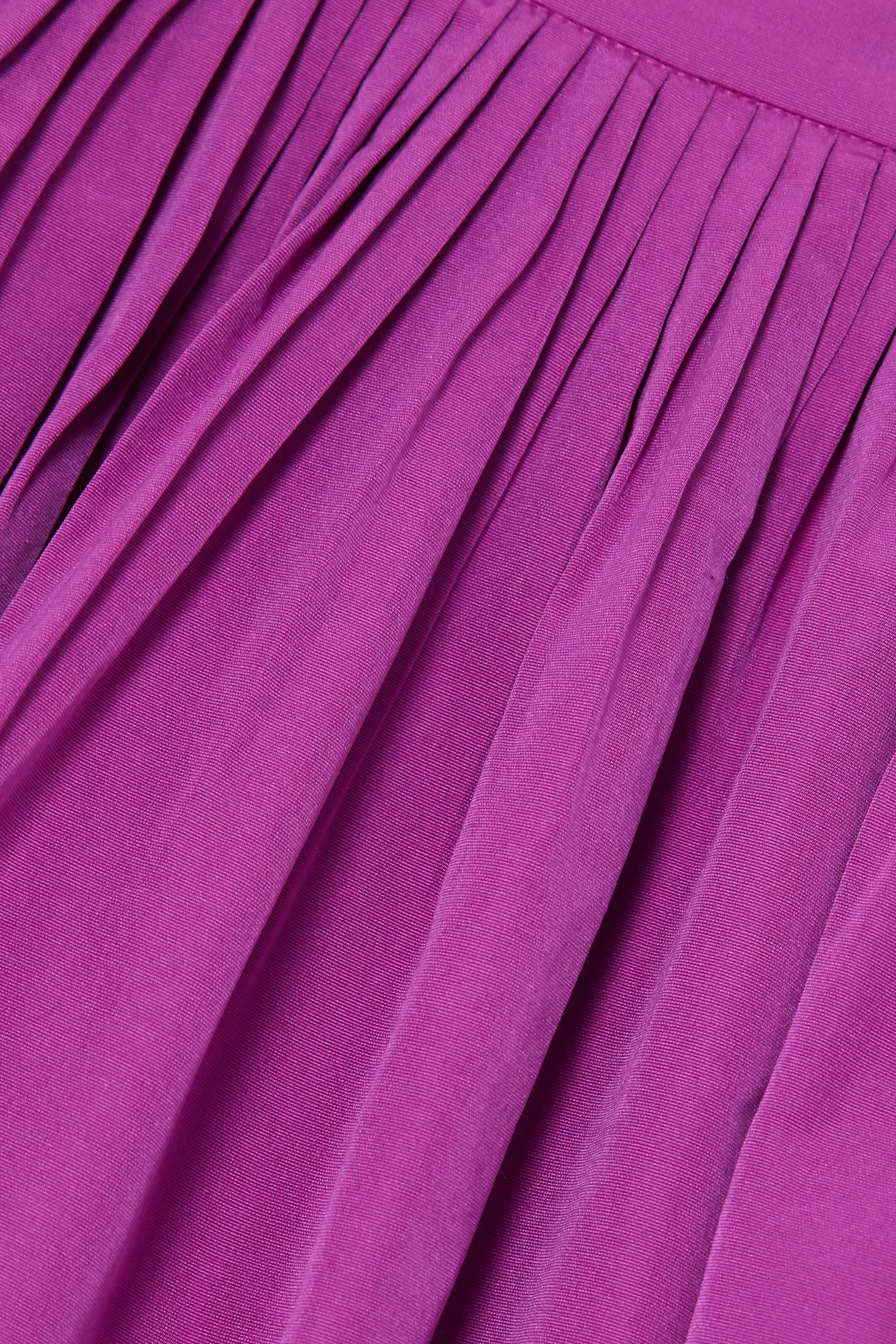 Valentino Pleated cotton-blend faille mini skirt