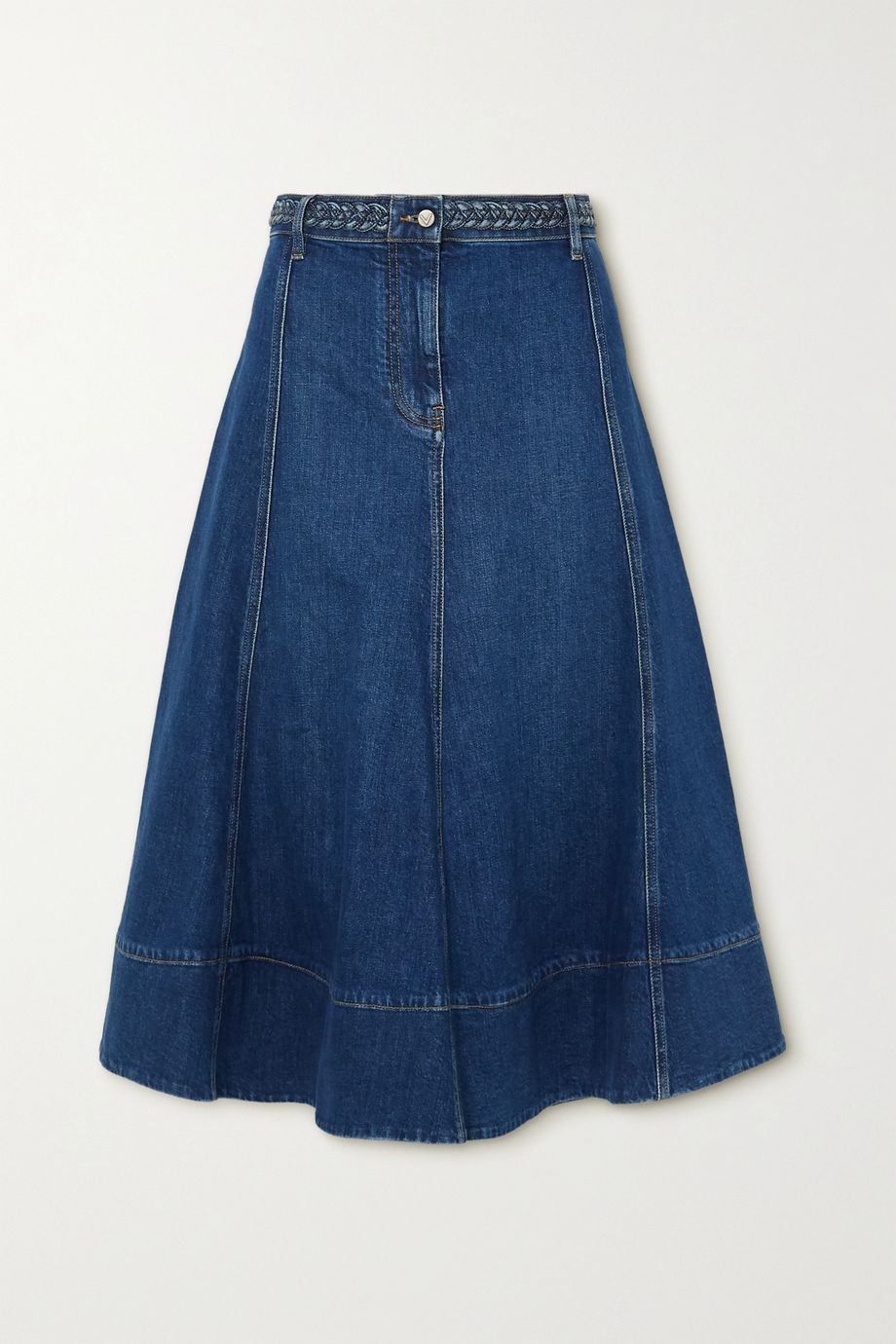 Valentino Braided denim midi skirt