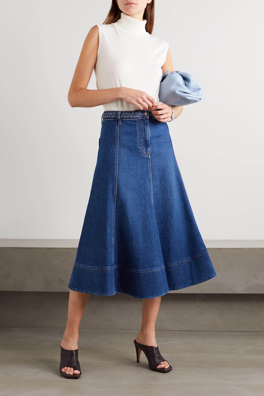 Valentino Braided denim midi skirt