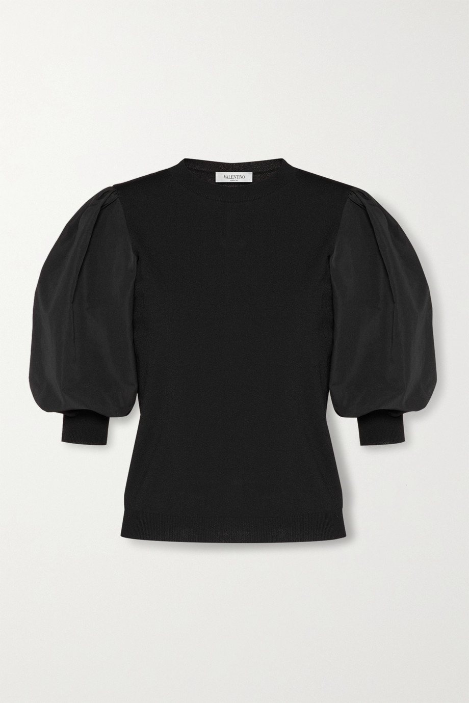Valentino Paneled poplin and knitted top
