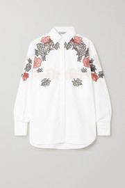 Valentino Lace-trimmed cotton-poplin shirt