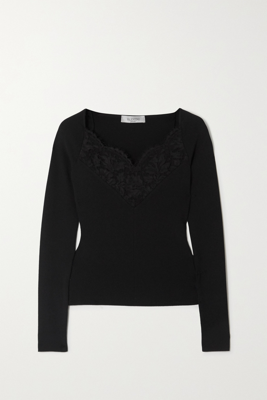 Valentino Lace-trimmed ribbed-knit top