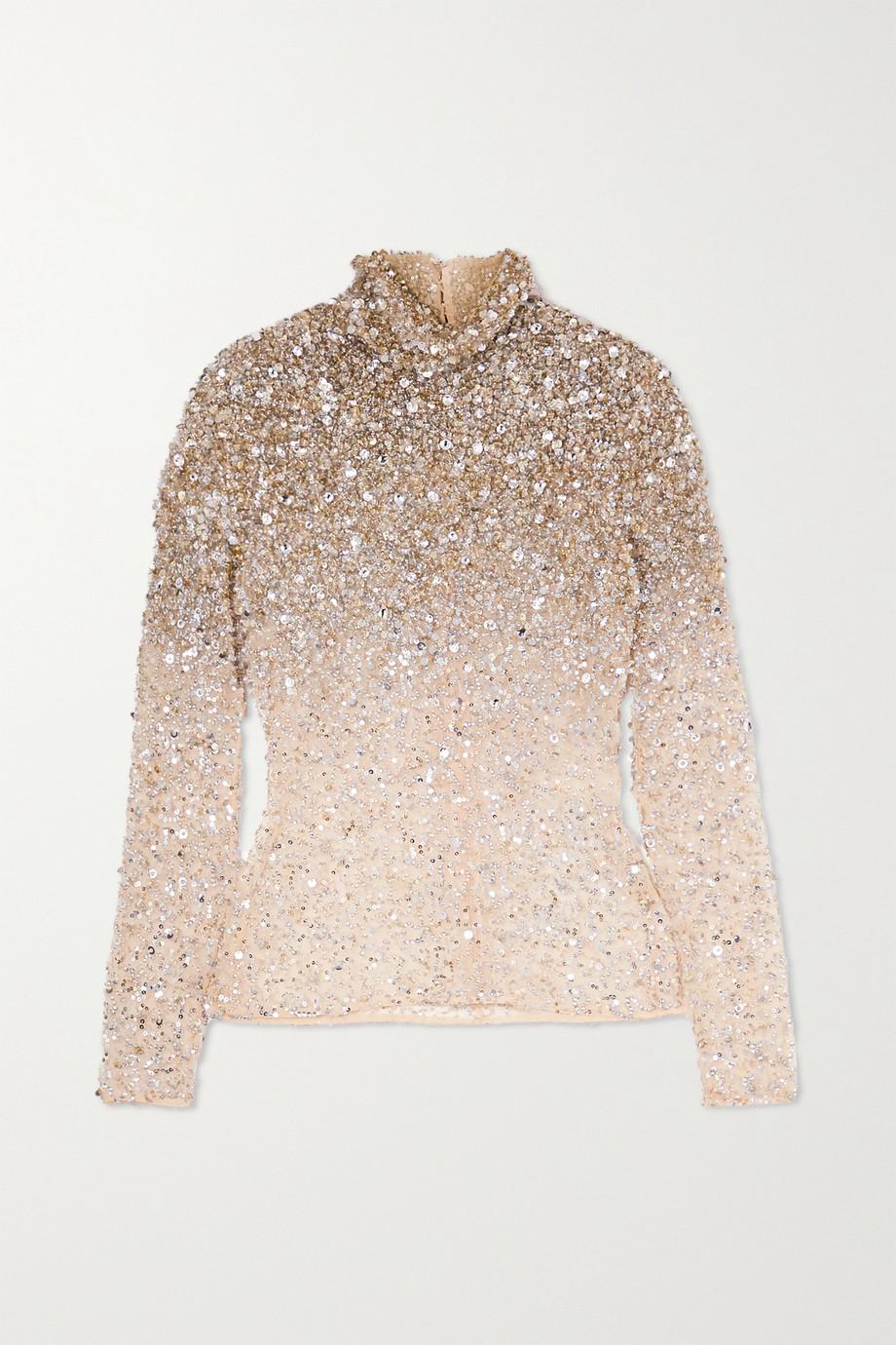 Valentino Embellished tulle turtleneck top