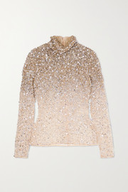 Valentino Embellished tulle turtleneck top