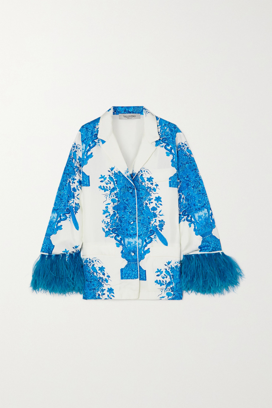 Valentino Feather-trimmed printed silk-twill shirt