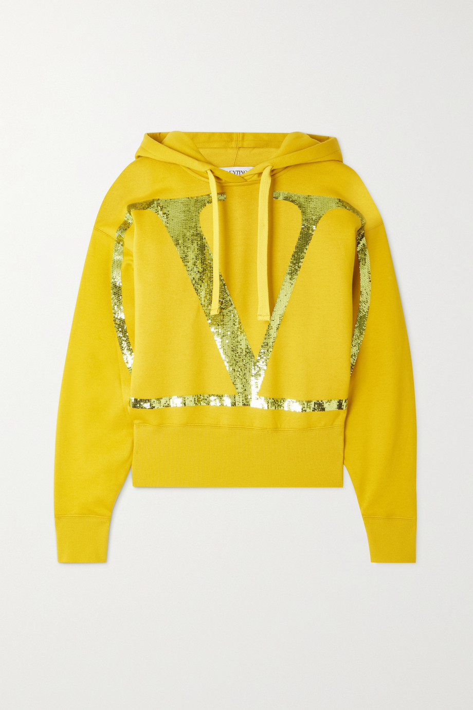 Valentino Cropped sequin-embellished cotton-blend jersey hoodie