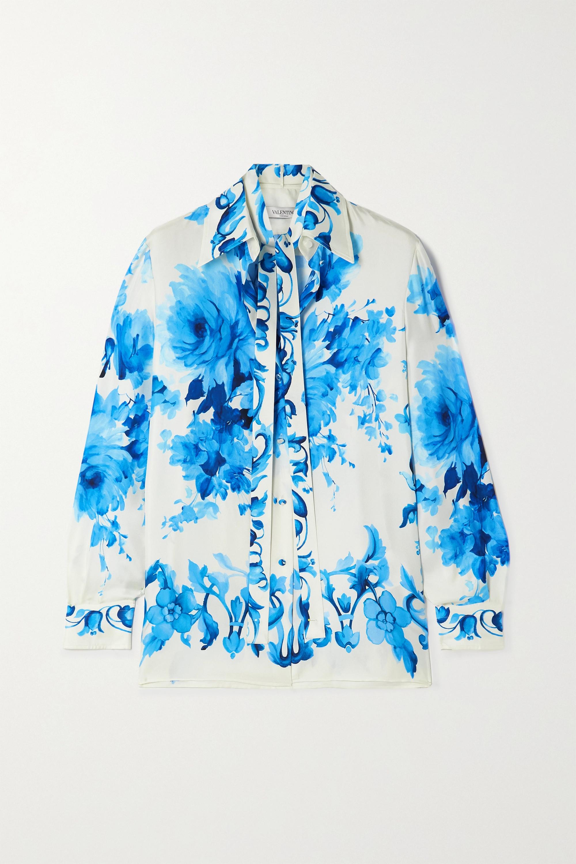 Valentino Floral-print silk-twill shirt