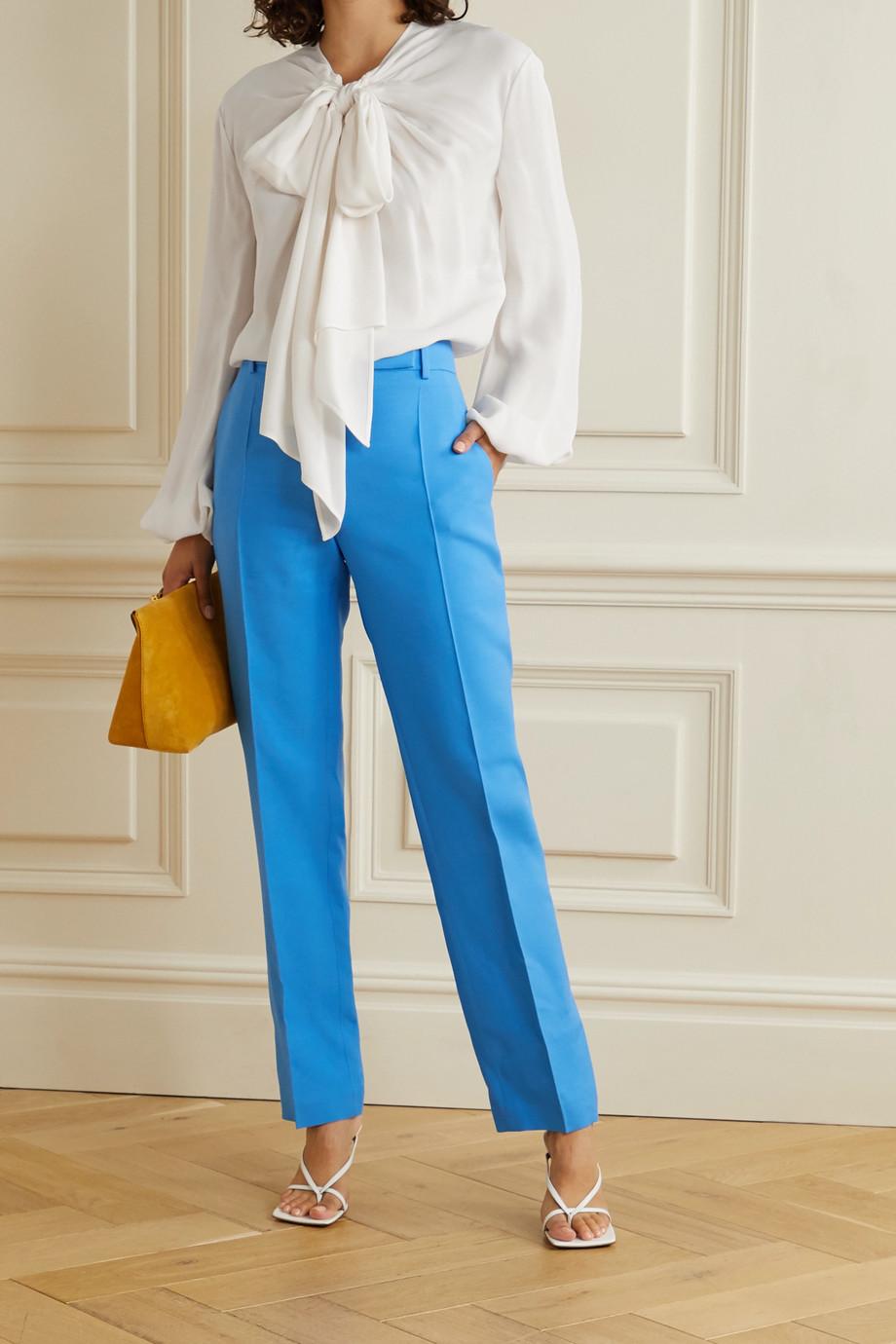 Valentino Tie-neck silk-crepe blouse