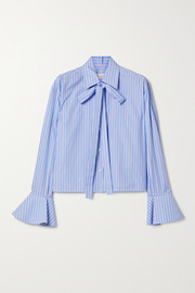 Valentino Tie-neck striped cotton-poplin shirt