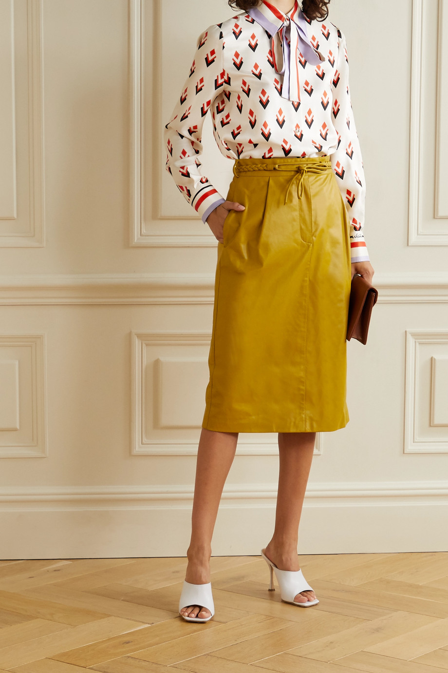 Valentino Pussy-bow printed silk-satin twill shirt