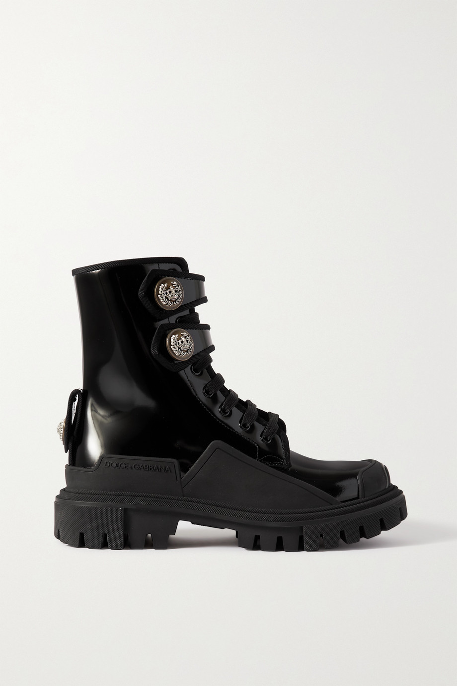 Dolce & Gabbana Biker rubber-trimmed embellished patent-leather ankle boots