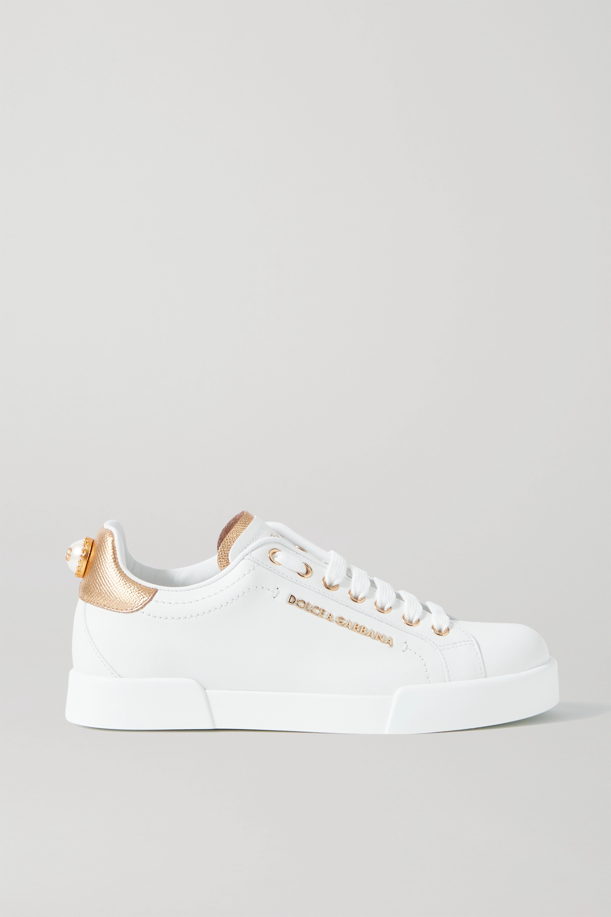 White Logo-embellished leather sneakers