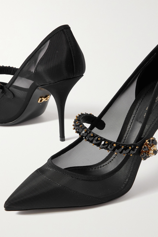 Dolce & Gabbana Crystal-embellished mesh and grosgrain pumps
