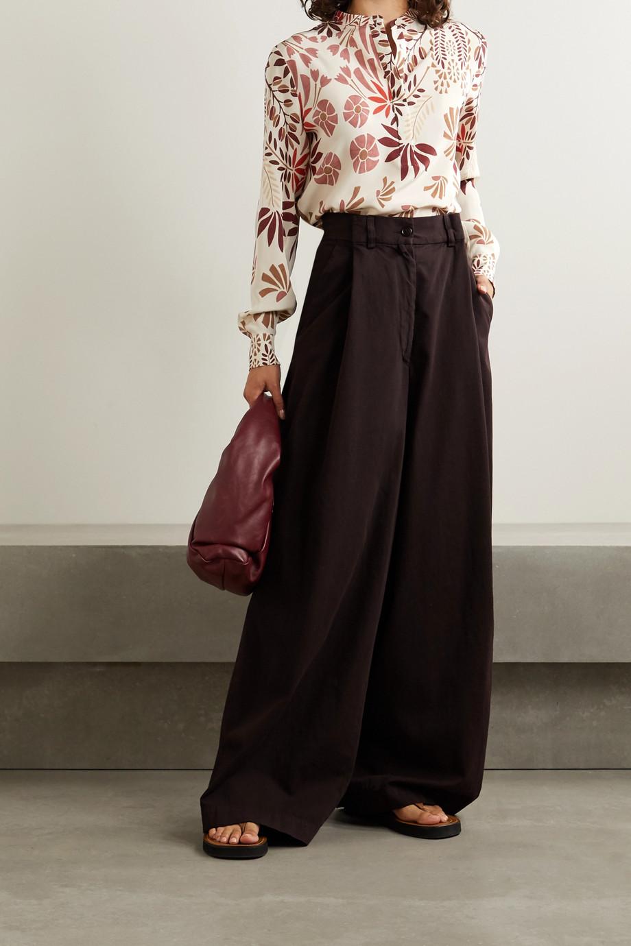 Loro Piana Floral-print silk-crepe blouse