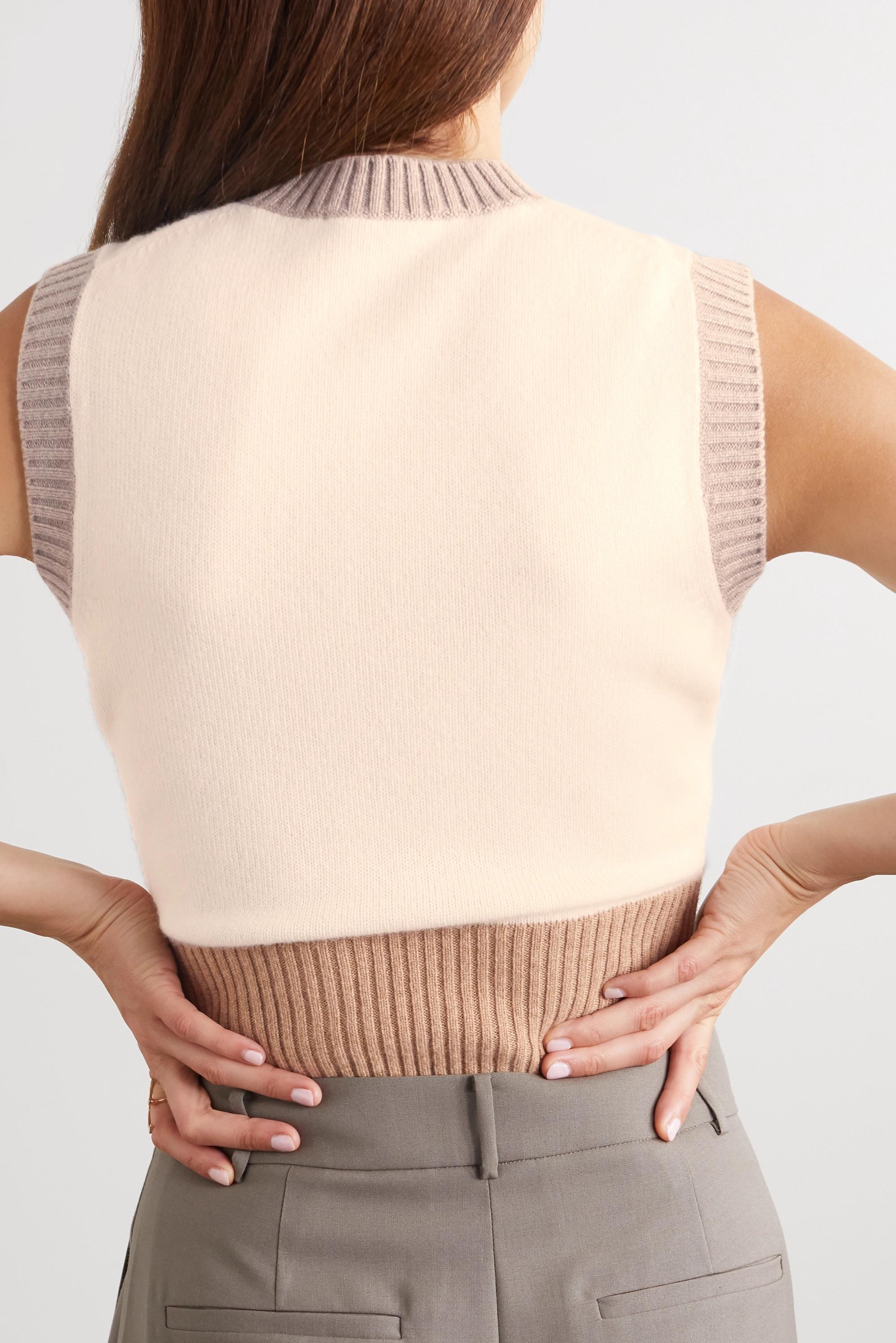 Loro Piana Color-block ribbed cashmere sweater
