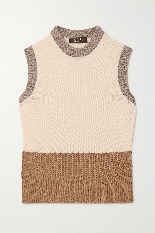 Loro Piana Gerippter Pullover aus Kaschmir in Colour-Block-Optik
