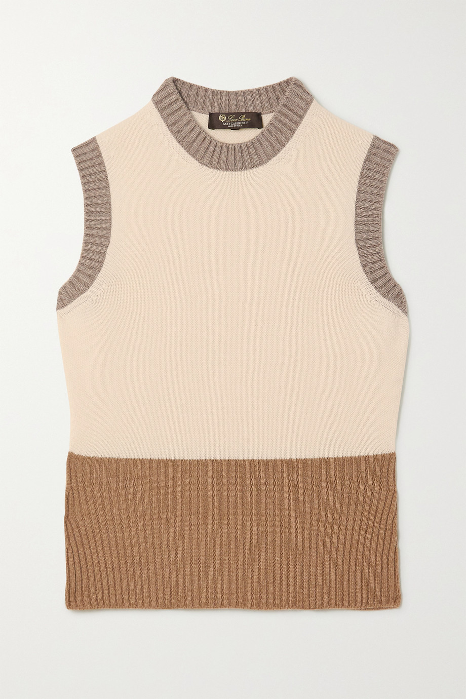 Loro Piana Color-block ribbed cashmere sweater