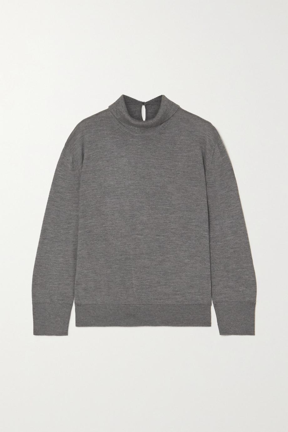 Loro Piana Lupetto mélange cashmere and silk-blend turtleneck sweater