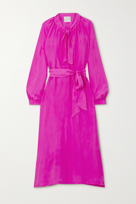 forte_forte Tie-neck belted silk-habotai midi dress