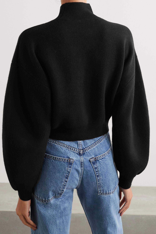 Alexander Wang Cropped chain-detailed cutout wool-blend turtleneck sweater