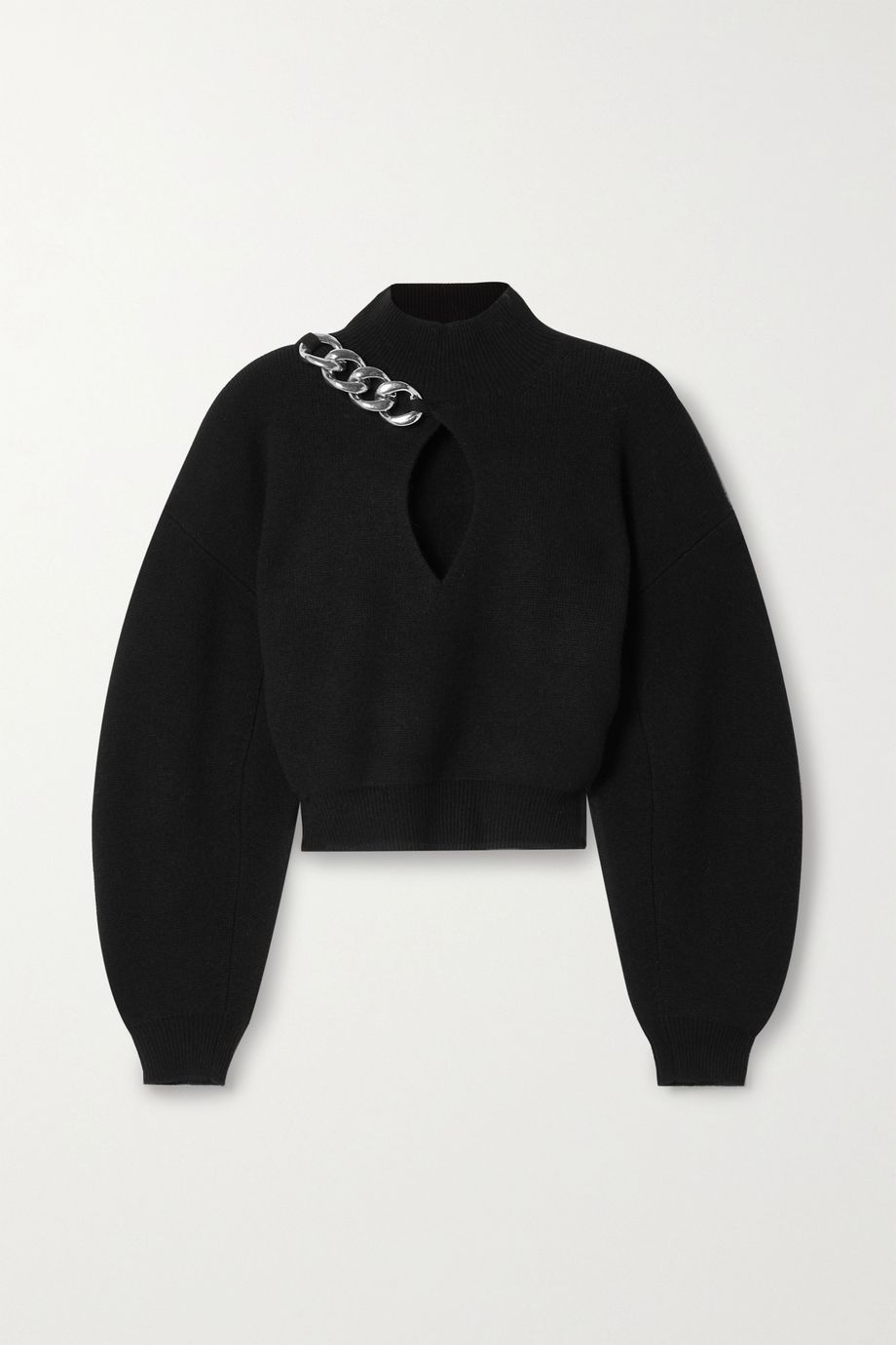 Alexander Wang Cropped chain-detailed cutout wool-blend turtleneck sweater