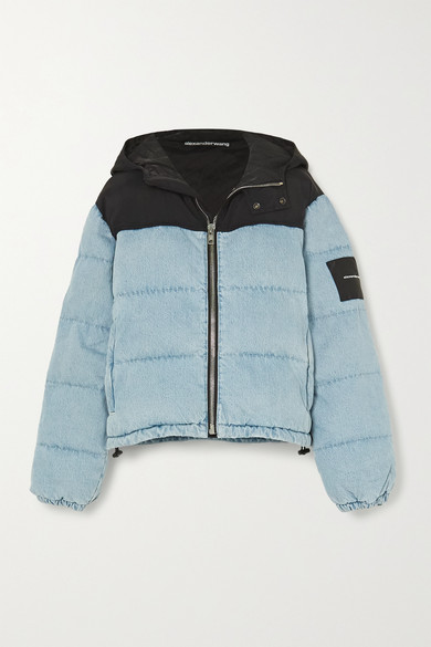 Alexander Wang - Puffer Hybrid Hooded Quilted Padded Denim And Shell Jacket