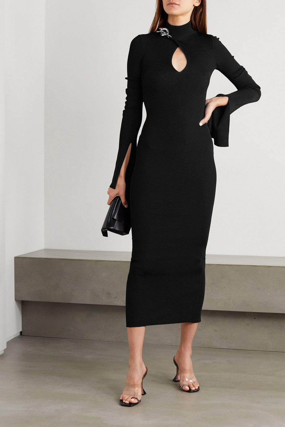 Alexander Wang Chain-embellished cutout ribbed stretch-jersey midi dress