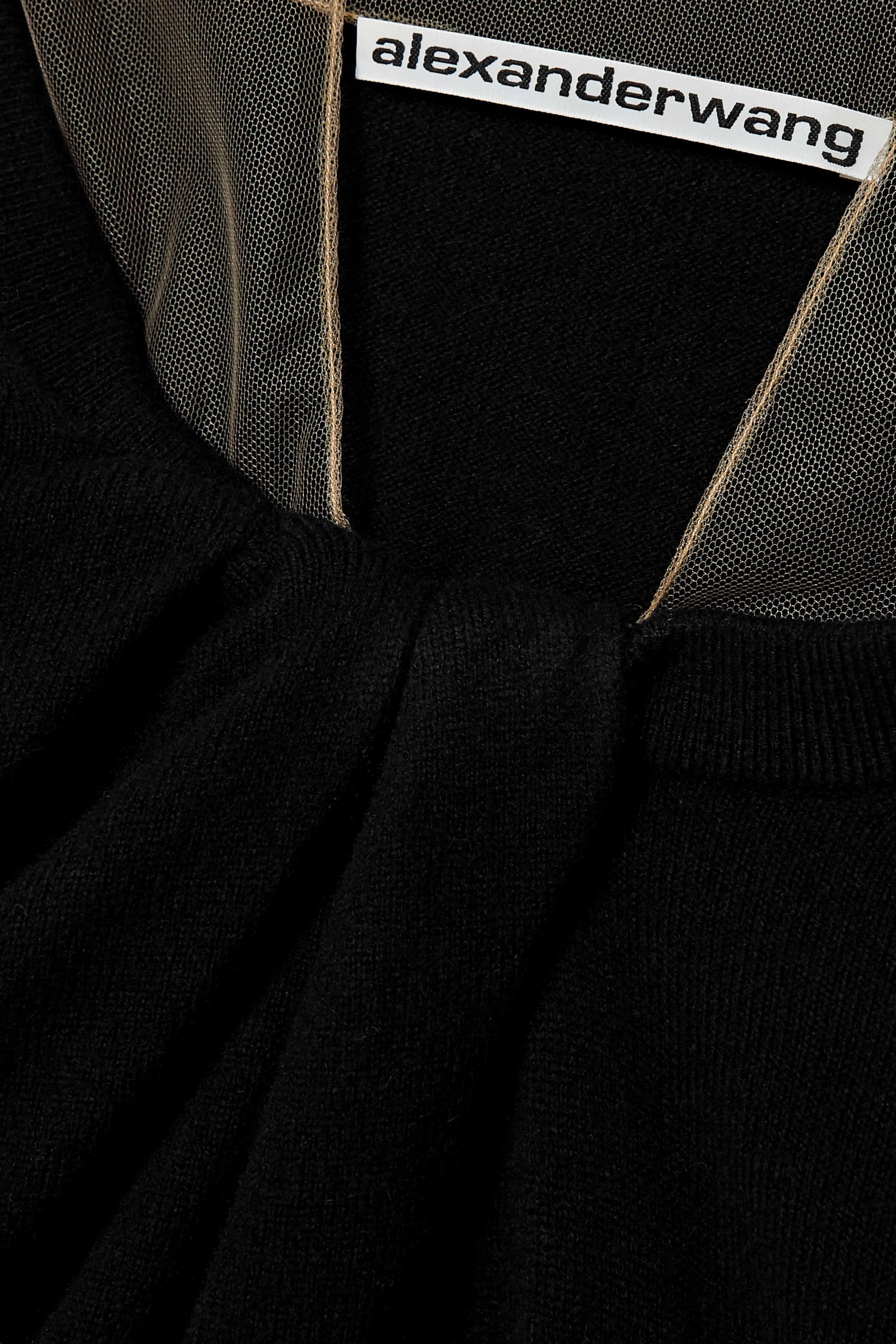 Black Cropped Tulle-trimmed Wool-blend Sweater   Alexander Wang