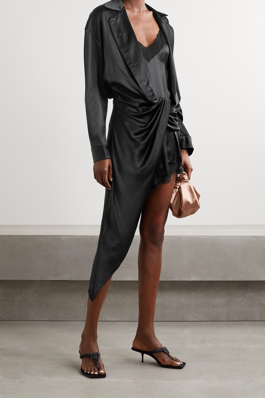 Alexander Wang Layered draped twist-front lace-trimmed silk-satin playsuit