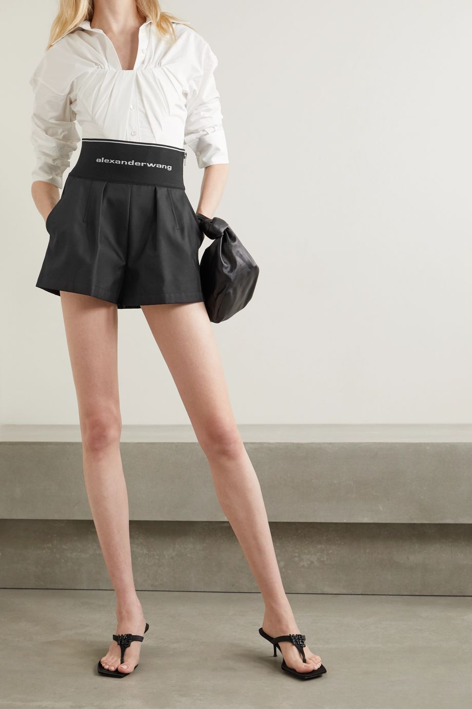 Alexander Wang Safari stretch-jacquard and cotton-blend twill shorts