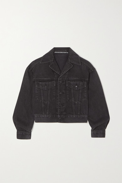 Alexander Wang - Cropped Denim Jacket - Gray