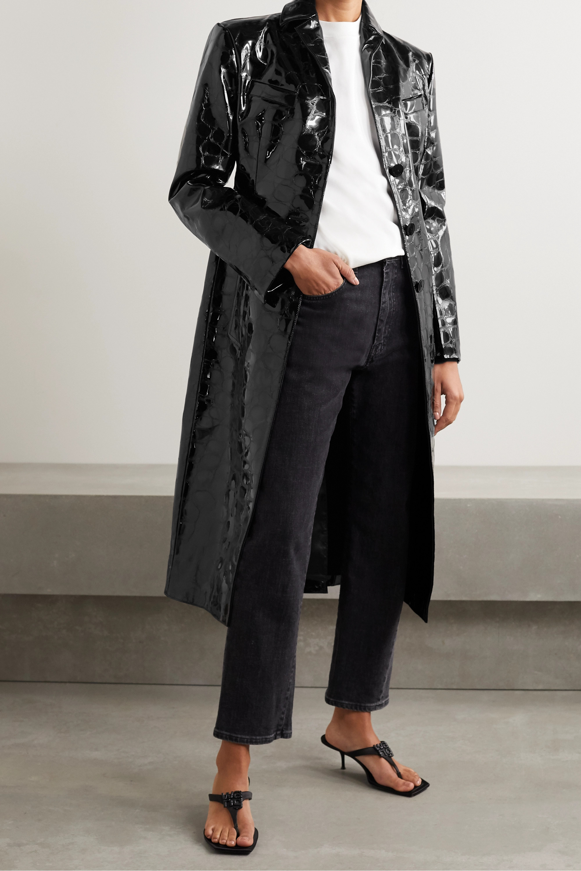 Alexander Wang Croc-effect patent-leather coat