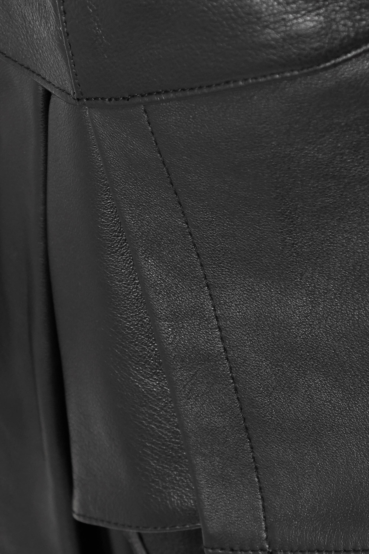 Black Asymmetric Ruffled Leather Mini Skirt   Alexander Wang