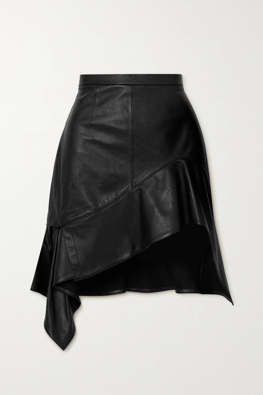 Alexander Wang Asymmetric ruffled leather mini skirt