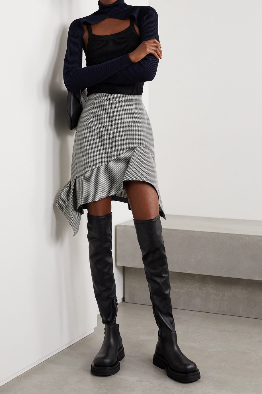 Alexander Wang Asymmetric ruffled leather-trimmed houndstooth wool-blend mini skirt