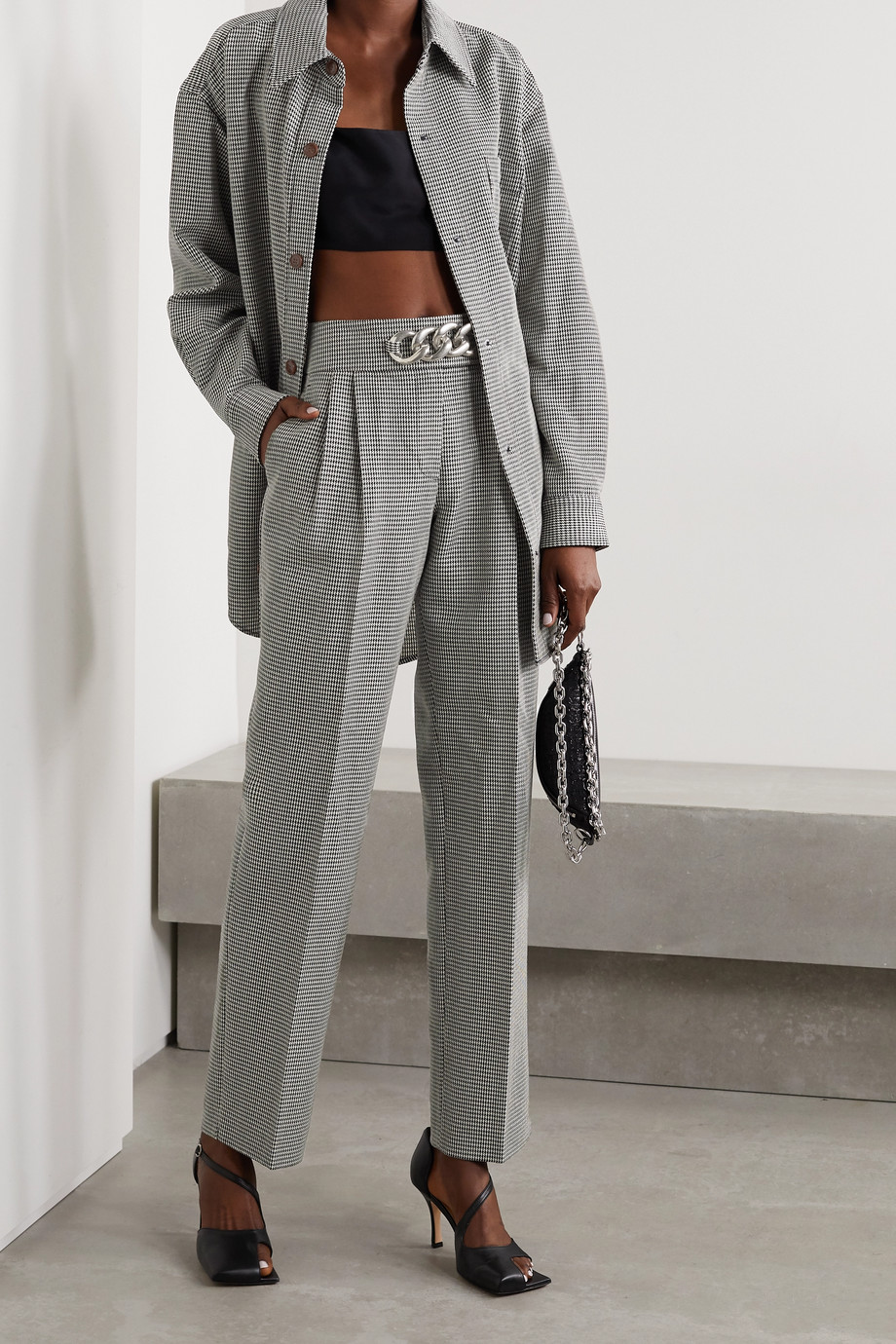 Alexander Wang Chain-embellished houndstooth wool-blend straight-leg pants