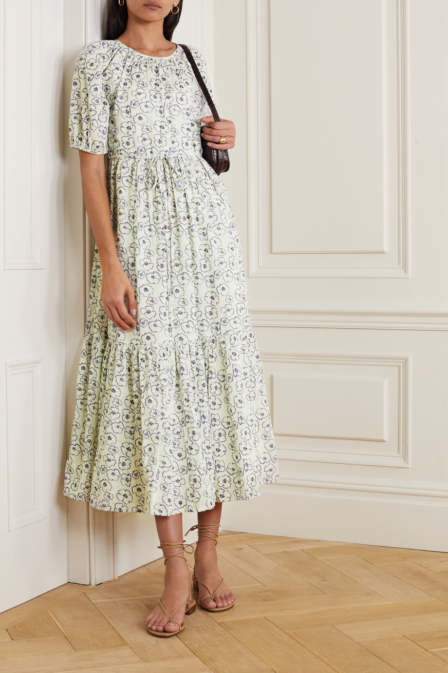 APIECE APART Simone tiered floral-print organic cotton midi dress