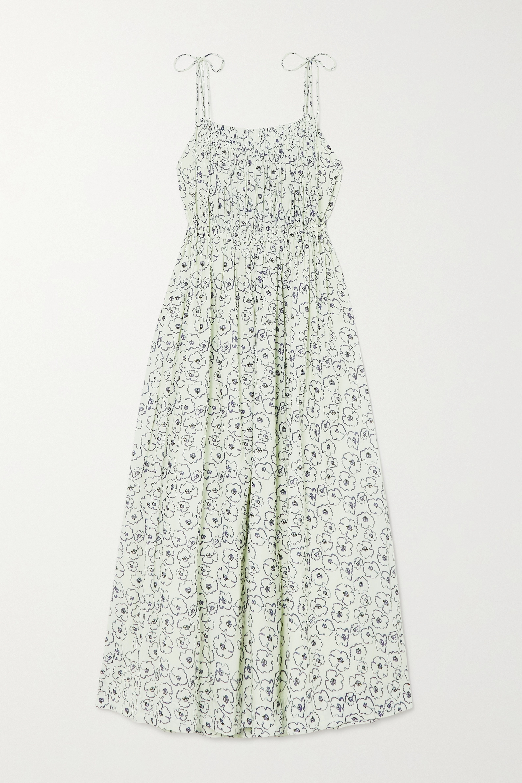APIECE APART Cecile shirred floral-print organic cotton maxi dress