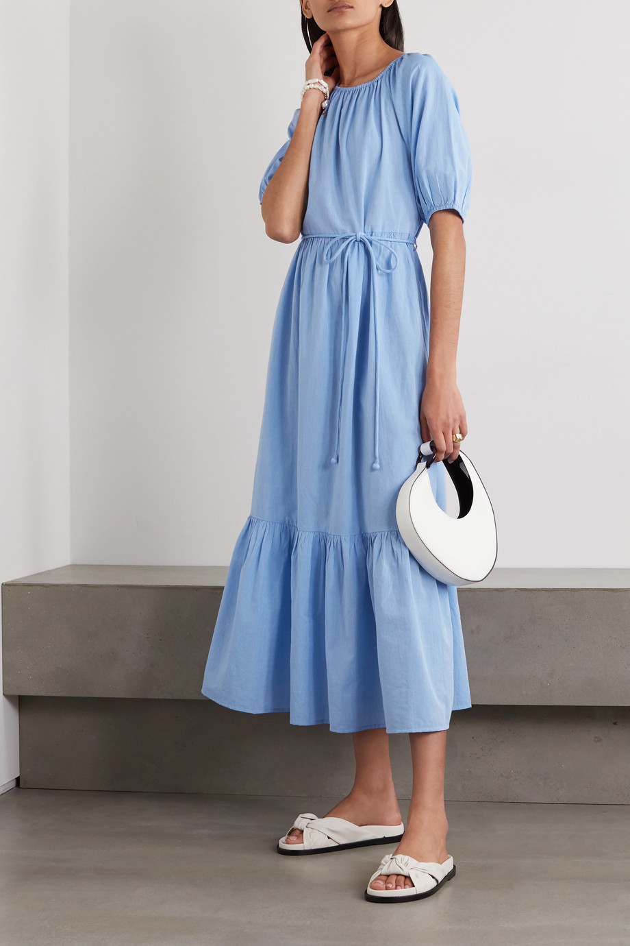APIECE APART Simone belted tiered organic cotton midi dress