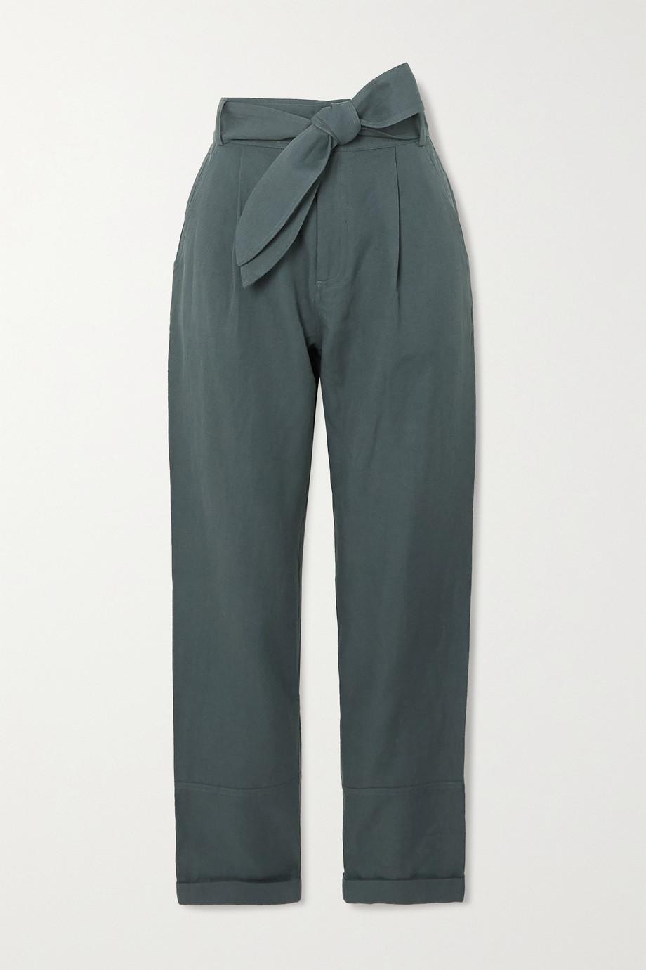 APIECE APART Bendita belted linen and cotton-blend twill straight-leg pants