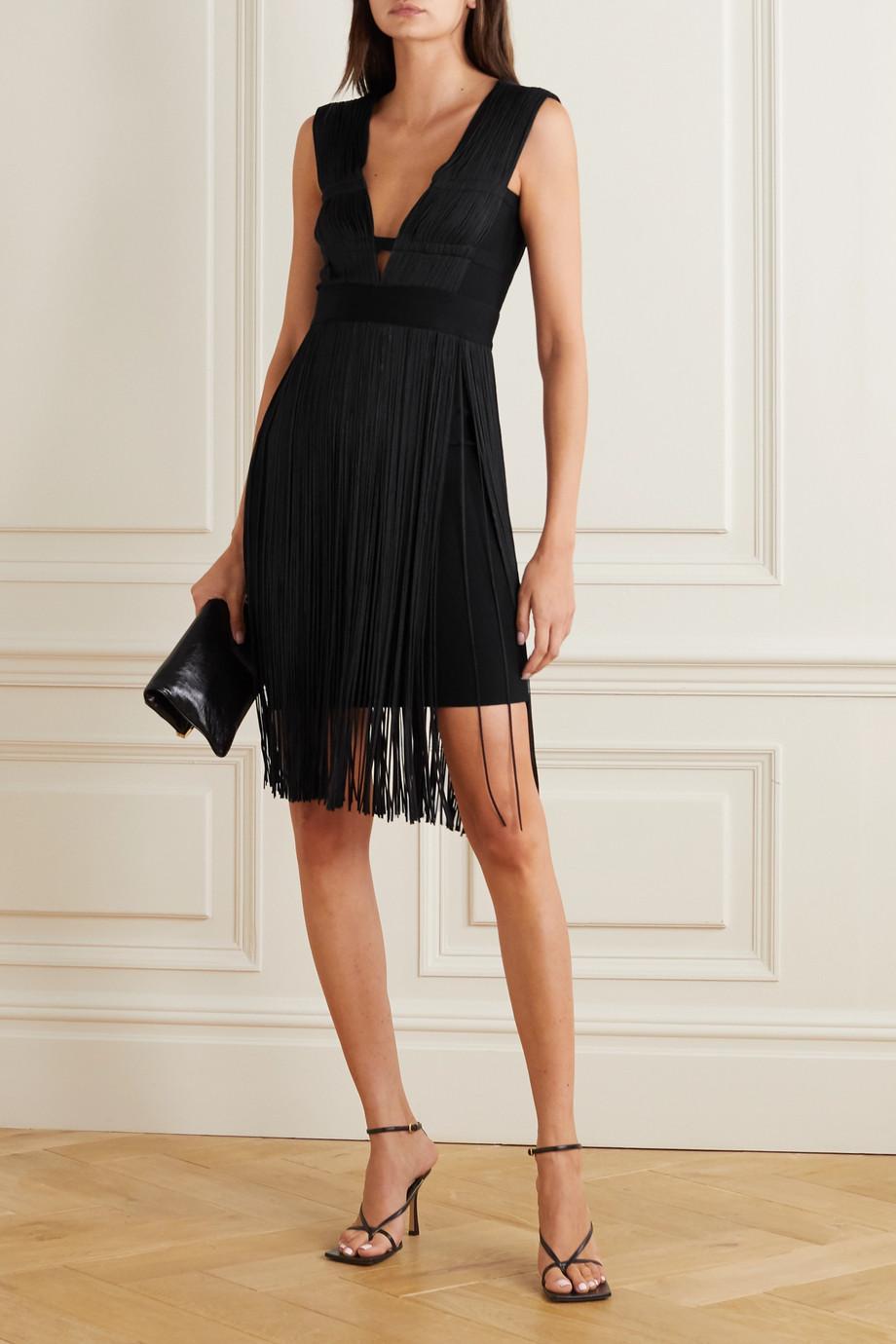 Hervé Léger Fringed cutout stretch-knit dress