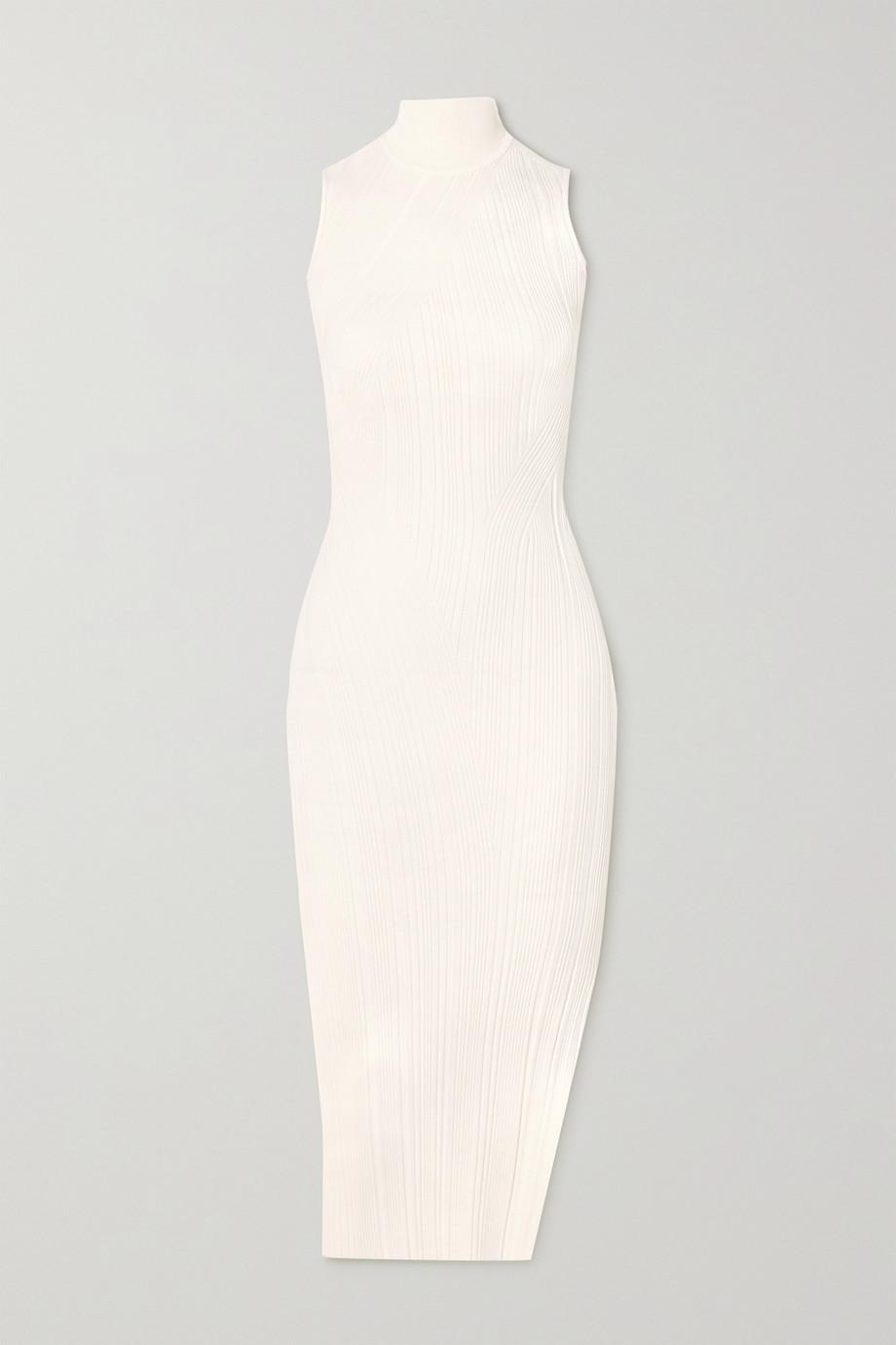 Hervé Léger Ribbed-knit turtleneck midi dress