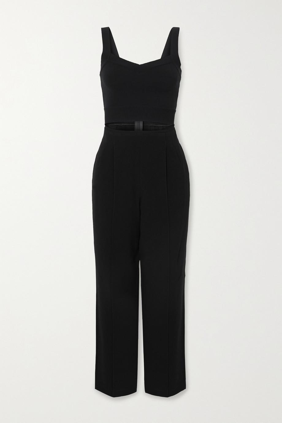 Hervé Léger Cutout cotton-blend and crepe jumpsuit